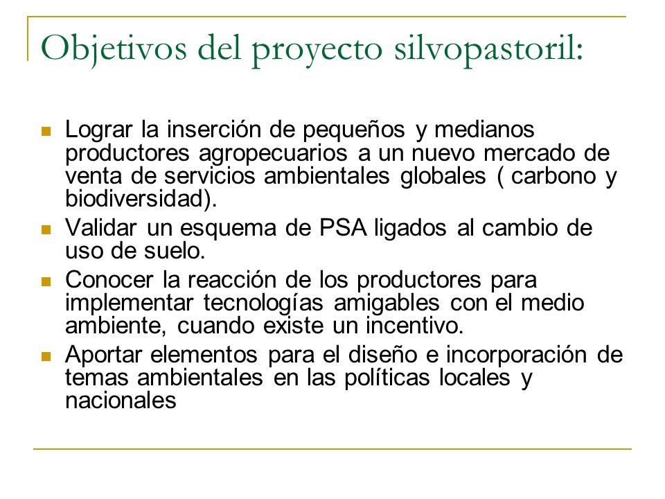 Objetivos del proyecto silvopastoril: Lograr la inserción de pequeños y medianos productores agropecuarios a un nuevo mercado de venta de servicios ambientales globales ( carbono y biodiversidad).