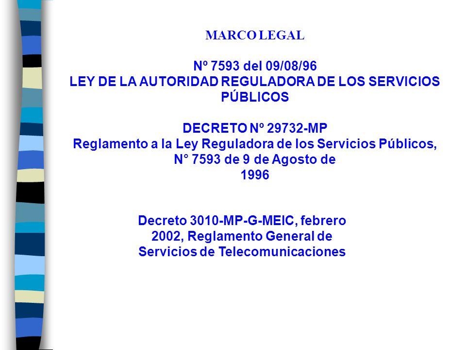 MARCO LEGAL Nº 7593 del 09/08/96 LEY DE LA AUTORIDAD REGULADORA DE LOS SERVICIOS PÚBLICOS DECRETO Nº 29732-MP Reglamento a la Ley Reguladora de los Servicios Públicos, N° 7593 de 9 de Agosto de 1996 Decreto 3010-MP-G-MEIC, febrero 2002, Reglamento General de Servicios de Telecomunicaciones