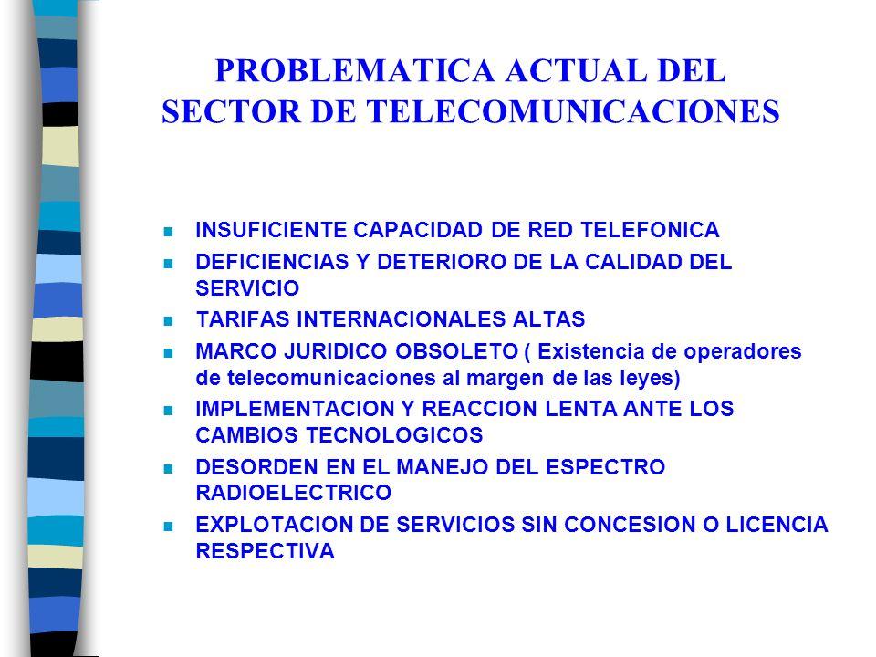 PROBLEMATICA ACTUAL DEL SECTOR DE TELECOMUNICACIONES n INSUFICIENTE CAPACIDAD DE RED TELEFONICA n DEFICIENCIAS Y DETERIORO DE LA CALIDAD DEL SERVICIO n TARIFAS INTERNACIONALES ALTAS n MARCO JURIDICO OBSOLETO ( Existencia de operadores de telecomunicaciones al margen de las leyes) n IMPLEMENTACION Y REACCION LENTA ANTE LOS CAMBIOS TECNOLOGICOS n DESORDEN EN EL MANEJO DEL ESPECTRO RADIOELECTRICO n EXPLOTACION DE SERVICIOS SIN CONCESION O LICENCIA RESPECTIVA