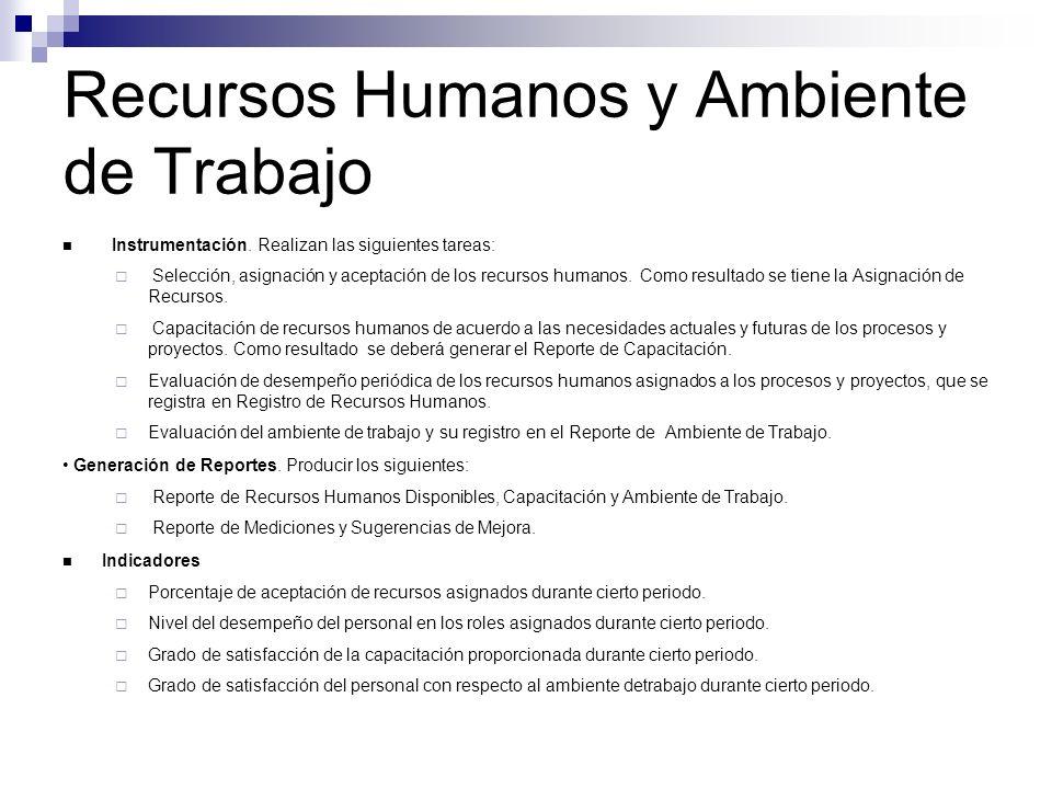 Recursos Humanos y Ambiente de Trabajo Instrumentación. Realizan las siguientes tareas: Selección, asignación y aceptación de los recursos humanos. Co