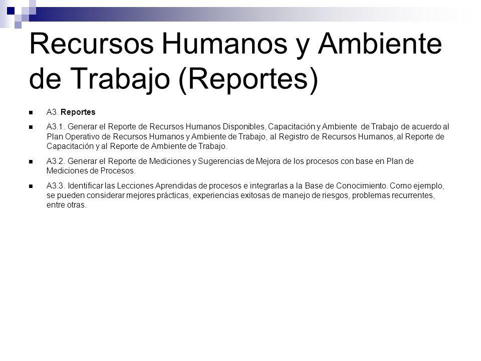 Recursos Humanos y Ambiente de Trabajo (Reportes) A3. Reportes A3.1. Generar el Reporte de Recursos Humanos Disponibles, Capacitación y Ambiente de Tr