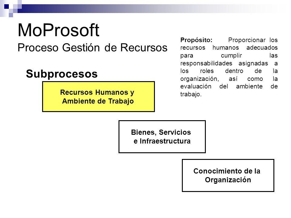 MoProsoft Proceso Gestión de Recursos Subprocesos Recursos Humanos y Ambiente de Trabajo Bienes, Servicios e Infraestructura Conocimiento de la Organi