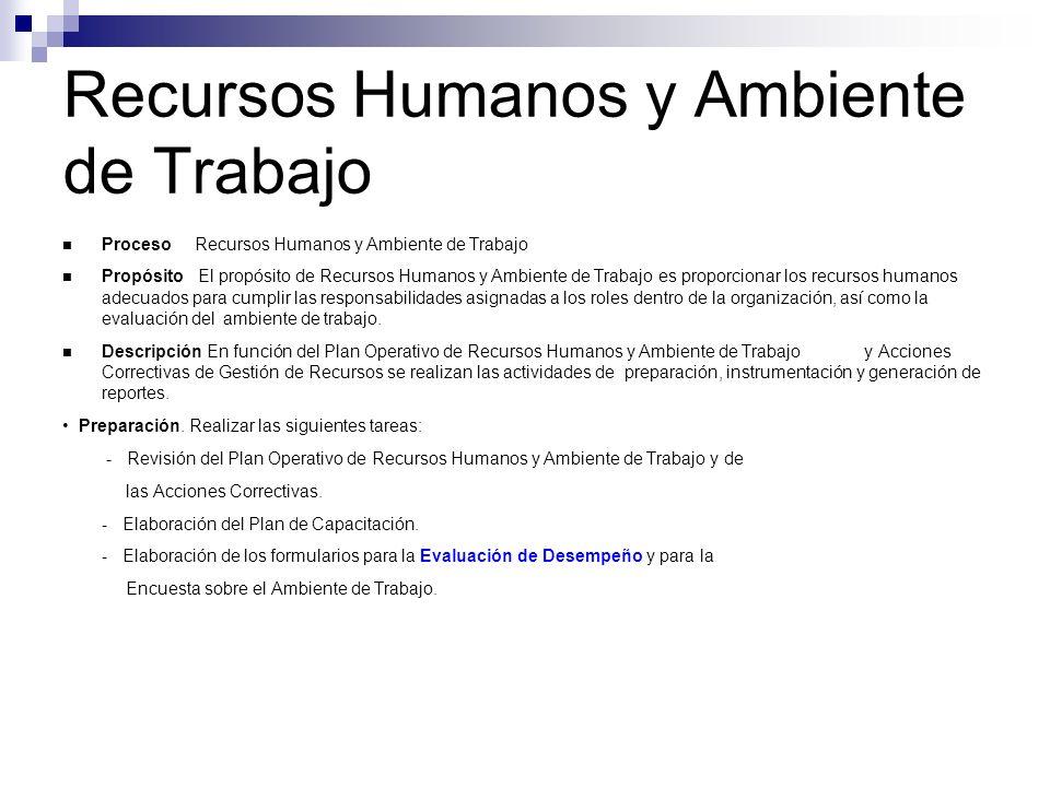Recursos Humanos y Ambiente de Trabajo Proceso Recursos Humanos y Ambiente de Trabajo Propósito El propósito de Recursos Humanos y Ambiente de Trabajo