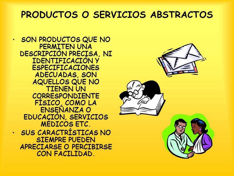 PRODUCTOS O SERVICIOS ABSTRACTOS SON PRODUCTOS QUE NO PERMITEN UNA DESCRIPCIÓN PRECISA, NI IDENTIFICACIÓN Y ESPECIFICACIONES ADECUADAS, SON AQUELLOS QUE NO TIENEN UN CORRESPONDIENTE FÍSICO, COMO LA ENSEÑANZA O EDUCACIÓN, SERVICIOS MÉDICOS ETC.