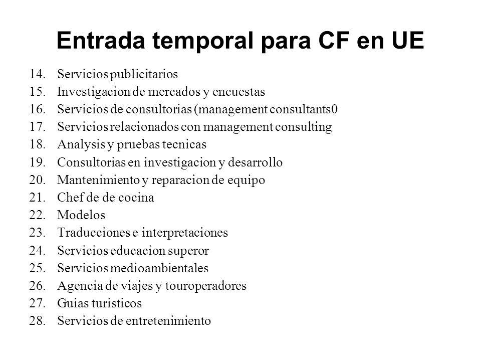 Entrada temporal para CF en UE 14.Servicios publicitarios 15.Investigacion de mercados y encuestas 16.Servicios de consultorias (management consultant