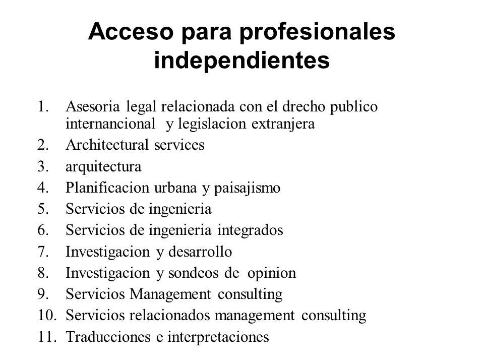 Acceso para profesionales independientes 1.Asesoria legal relacionada con el drecho publico internancional y legislacion extranjera 2.Architectural se