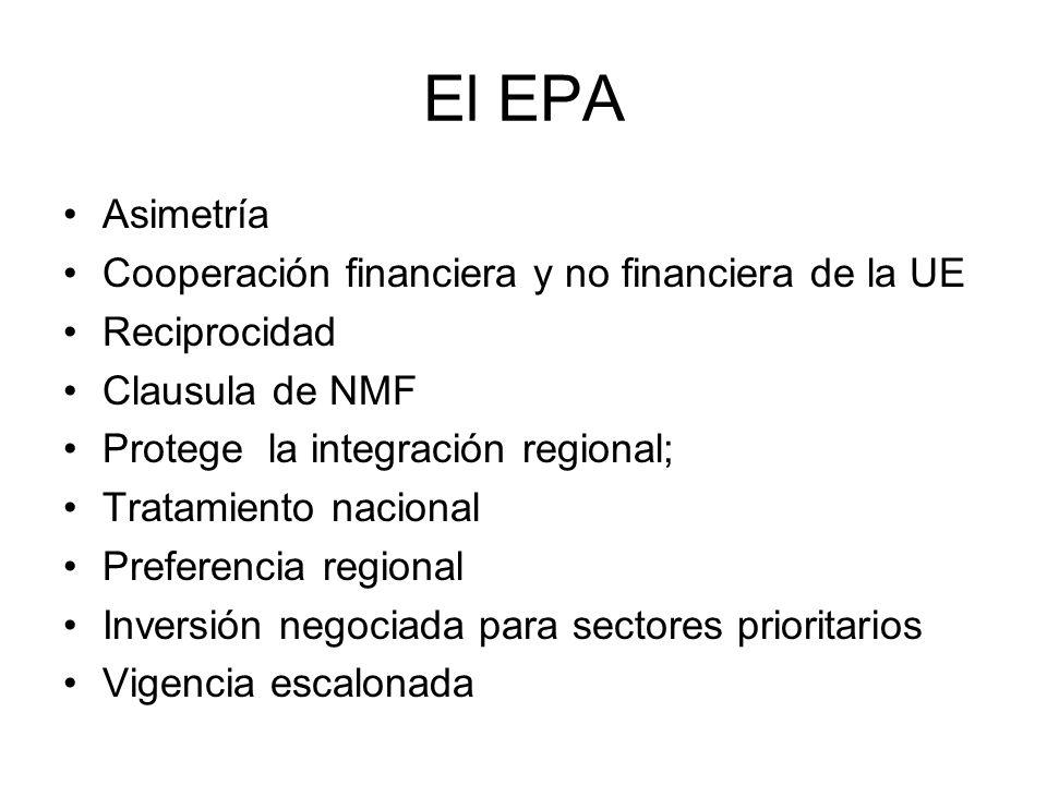 El EPA Asimetría Cooperación financiera y no financiera de la UE Reciprocidad Clausula de NMF Protege la integración regional; Tratamiento nacional Pr