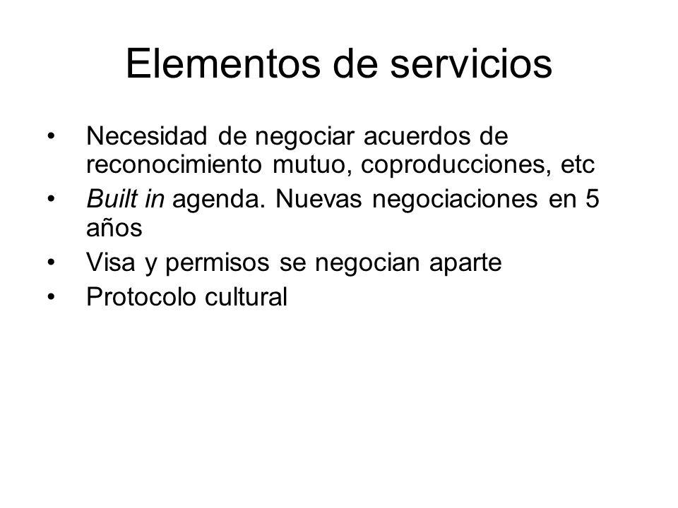 Elementos de servicios Necesidad de negociar acuerdos de reconocimiento mutuo, coproducciones, etc Built in agenda. Nuevas negociaciones en 5 años Vis
