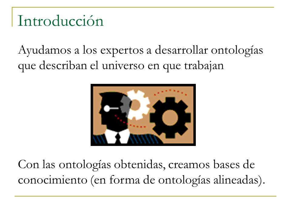 Introducción Ayudamos a los expertos a desarrollar ontologías que describan el universo en que trabajan Con las ontologías obtenidas, creamos bases de conocimiento (en forma de ontologías alineadas).