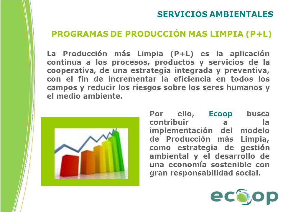 SERVICIOS AMBIENTALES PROGRAMAS DE PRODUCCIÓN MAS LIMPIA (P+L) La Producción más Limpia (P+L) es la aplicación continua a los procesos, productos y se