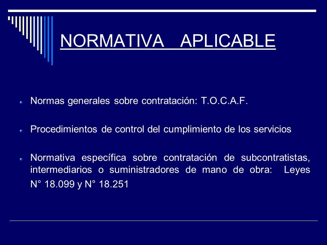 NORMATIVA APLICABLE Normas generales sobre contratación: T.O.C.A.F. Procedimientos de control del cumplimiento de los servicios Normativa específica s