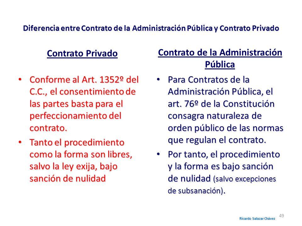 Diferencia entre Contrato de la Administración Pública y Contrato Privado Contrato Privado Conforme al Art. 1352º del C.C., el consentimiento de las p