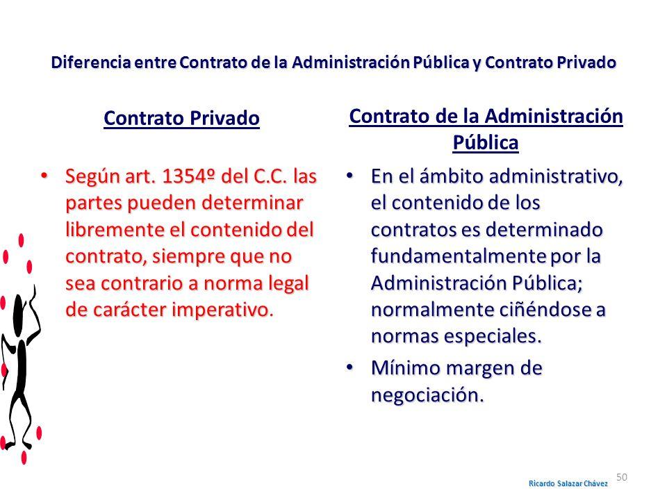 Diferencia entre Contrato de la Administración Pública y Contrato Privado Contrato Privado Según art. 1354º del C.C. las partes pueden determinar libr