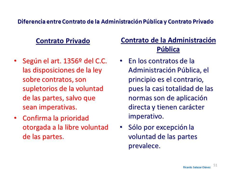 Diferencia entre Contrato de la Administración Pública y Contrato Privado Contrato Privado Según el art. 1356º del C.C. las disposiciones de la ley so