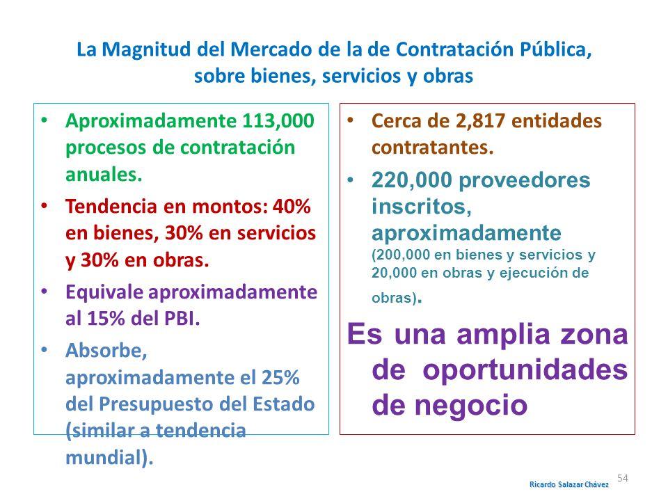 La Magnitud del Mercado de la de Contratación Pública, sobre bienes, servicios y obras Aproximadamente 113,000 procesos de contratación anuales. Tende