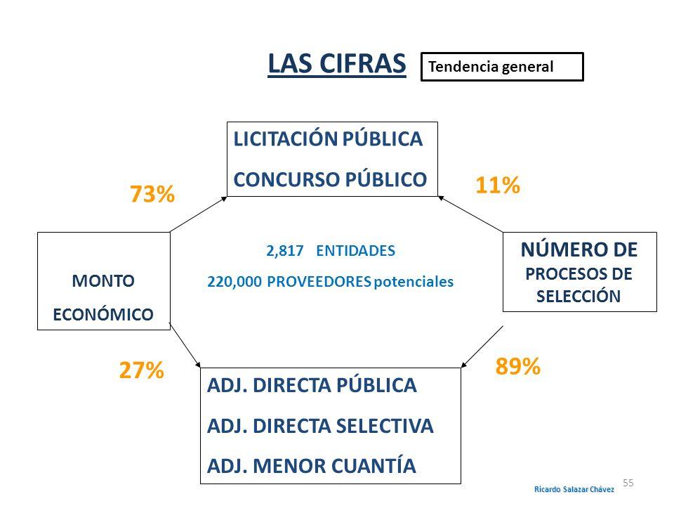 MONTO ECONÓMICO ADJ. DIRECTA PÚBLICA ADJ. DIRECTA SELECTIVA ADJ. MENOR CUANTÍA NÚMERO DE PROCESOS DE SELECCIÓN LICITACIÓN PÚBLICA CONCURSO PÚBLICO 73%