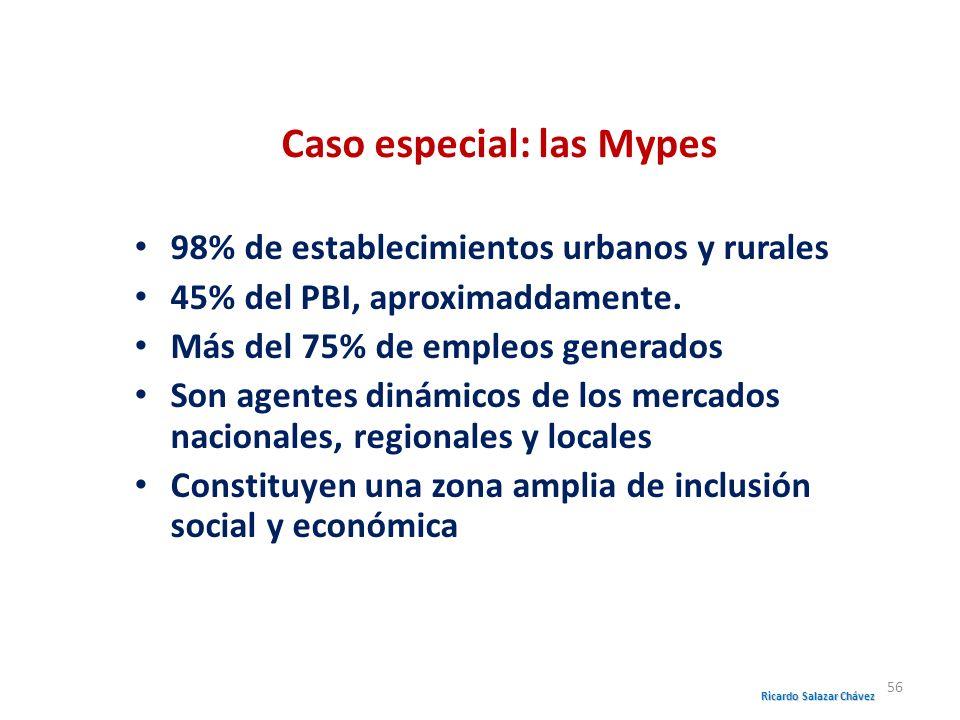 Caso especial: las Mypes 98% de establecimientos urbanos y rurales 45% del PBI, aproximaddamente. Más del 75% de empleos generados Son agentes dinámic