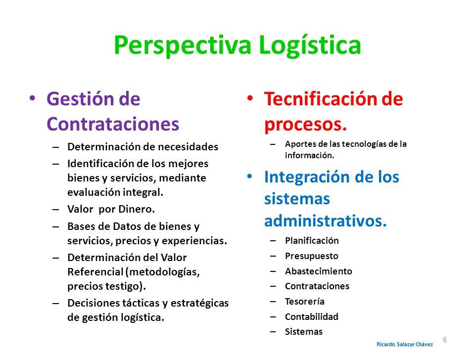 Perspectiva Logística Gestión de Contrataciones – Determinación de necesidades – Identificación de los mejores bienes y servicios, mediante evaluación
