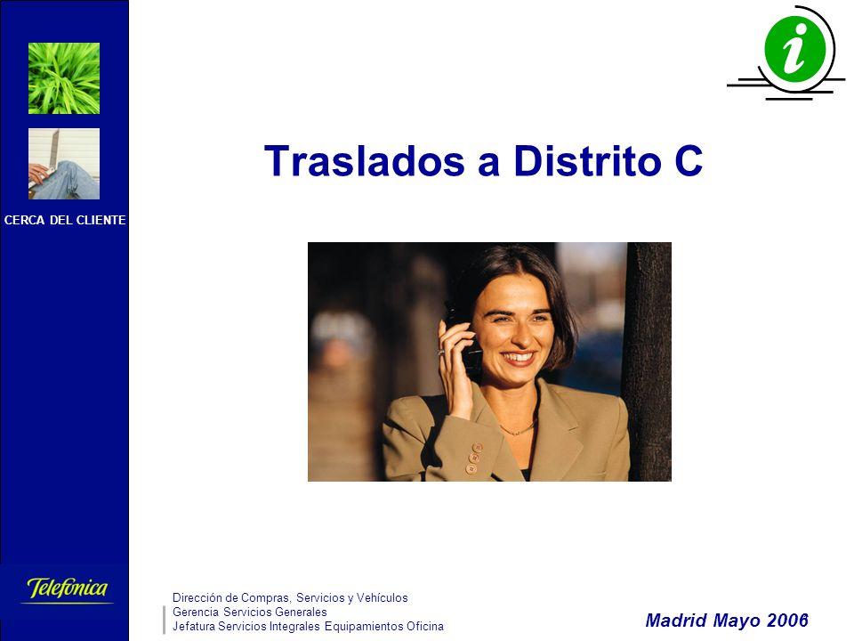 CERCA DEL CLIENTE Dirección de Compras, Servicios y Vehículos Gerencia Servicios Generales Jefatura Servicios Integrales Equipamientos Oficina 1 Traslados a Distrito C Madrid Mayo 2006