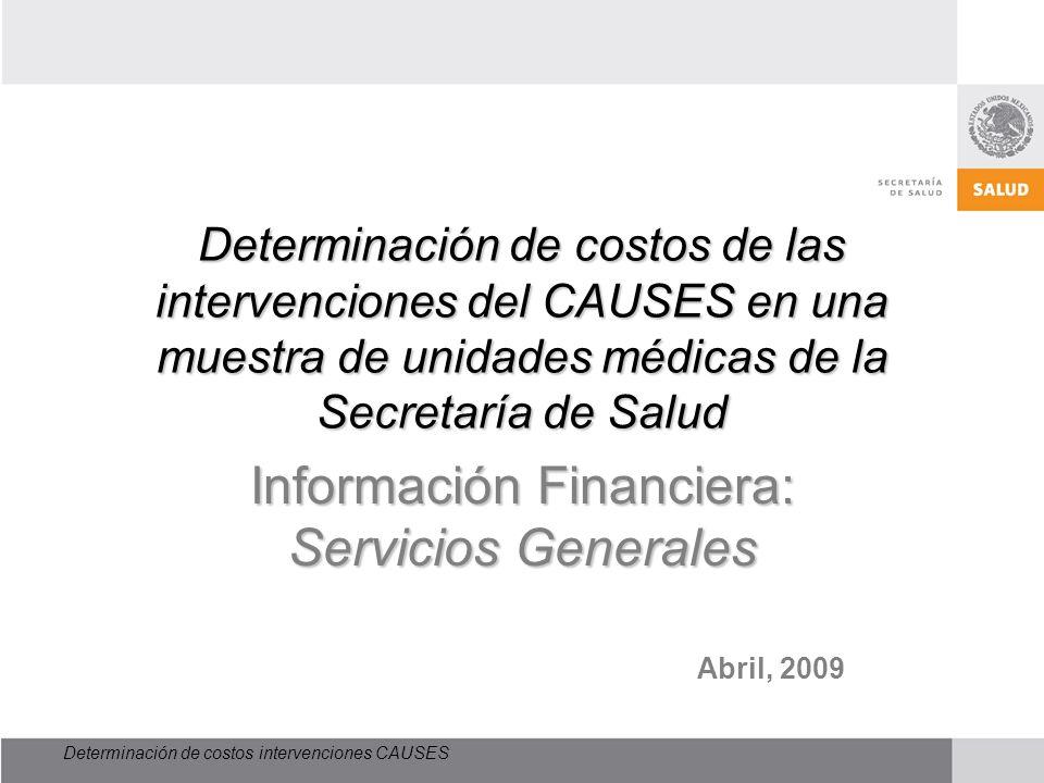 Determinación de costos intervenciones CAUSES Determinación de costos de las intervenciones del CAUSES en una muestra de unidades médicas de la Secret