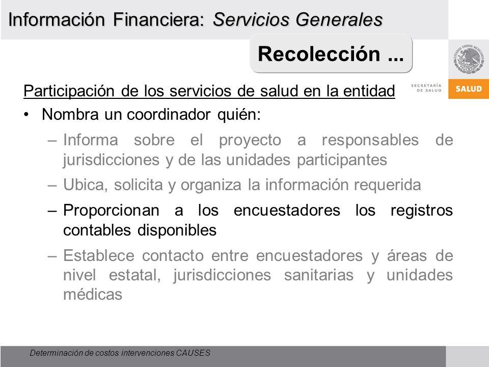 Determinación de costos intervenciones CAUSES Recolección... Participación de los servicios de salud en la entidad Nombra un coordinador quién: –Infor