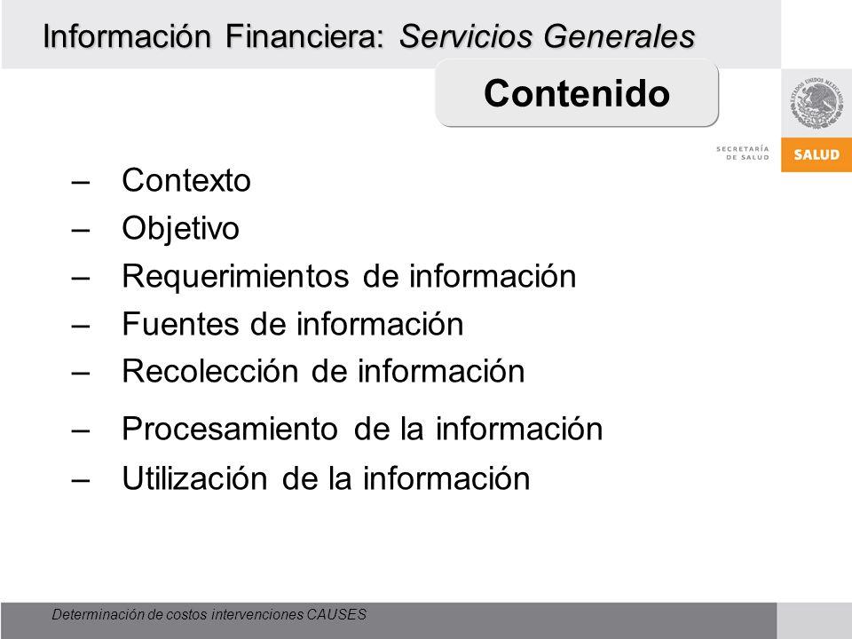 Determinación de costos intervenciones CAUSES Información Financiera: Servicios Generales –Contexto –Objetivo –Requerimientos de información –Fuentes