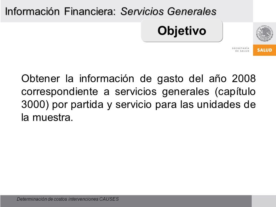 Determinación de costos intervenciones CAUSES Objetivo Obtener la información de gasto del año 2008 correspondiente a servicios generales (capítulo 30