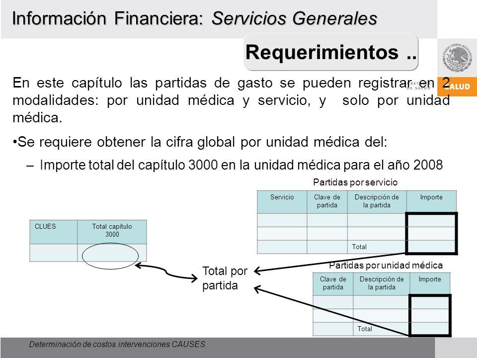 Determinación de costos intervenciones CAUSES Requerimientos.. En este capítulo las partidas de gasto se pueden registrar en 2 modalidades: por unidad