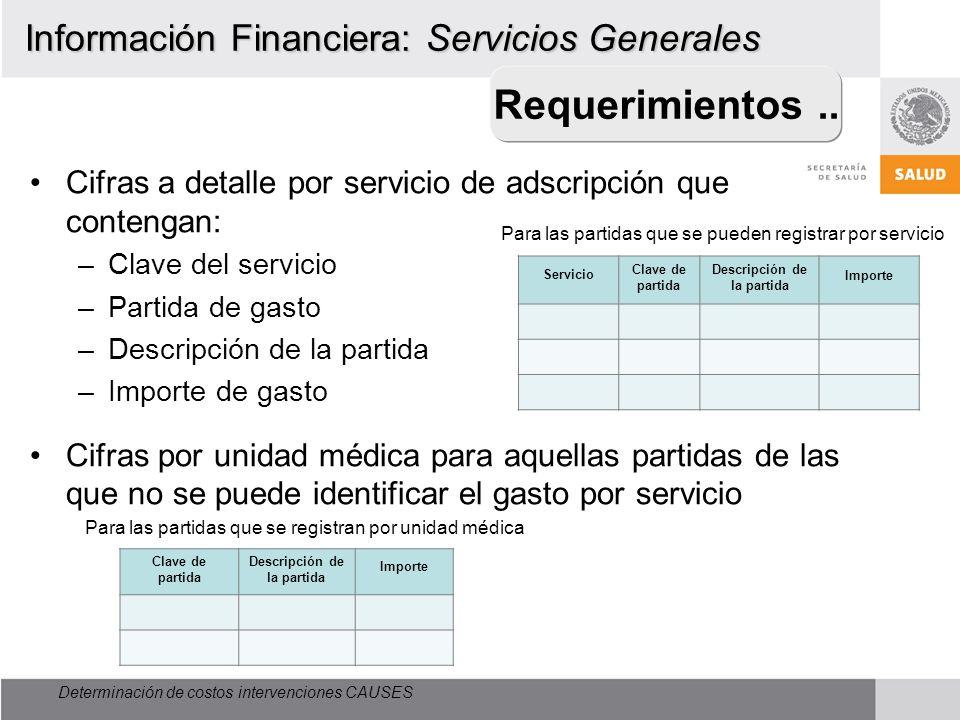 Determinación de costos intervenciones CAUSES Información Financiera: Servicios Generales Cifras a detalle por servicio de adscripción que contengan: