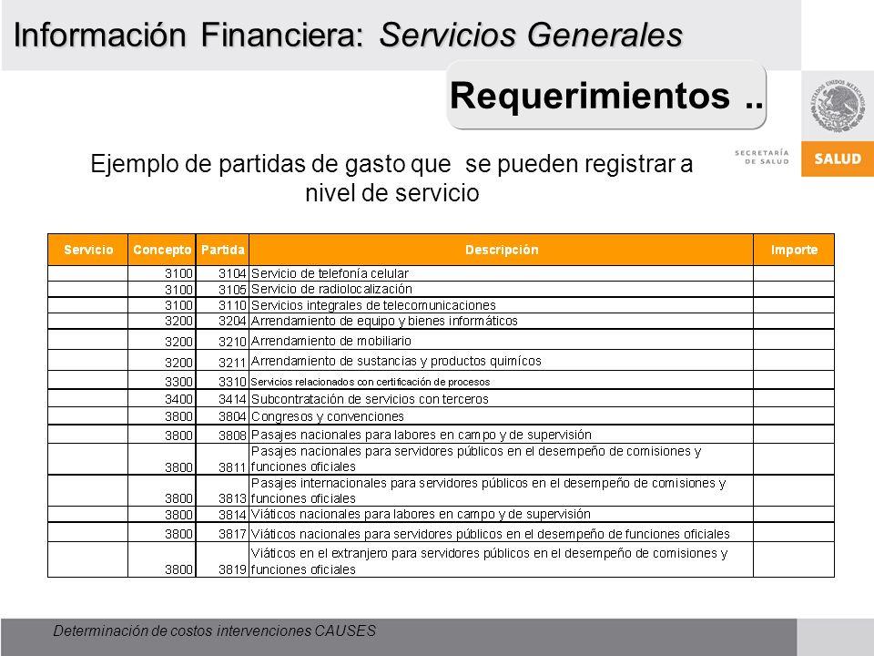 Determinación de costos intervenciones CAUSES Información Financiera: Servicios Generales Ejemplo de partidas de gasto que se pueden registrar a nivel