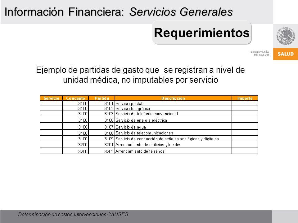 Determinación de costos intervenciones CAUSES Requerimientos Información Financiera: Servicios Generales Ejemplo de partidas de gasto que se registran