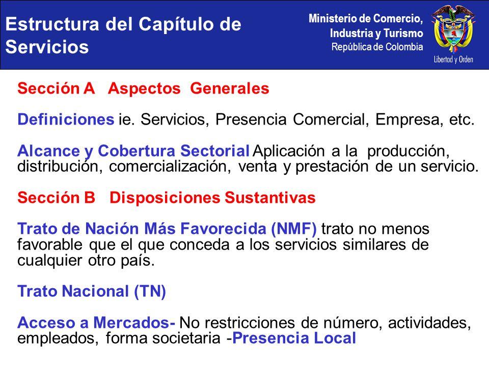 Ministerio de Comercio, Industria y Turismo República de Colombia Sección A Aspectos Generales Definiciones ie. Servicios, Presencia Comercial, Empres