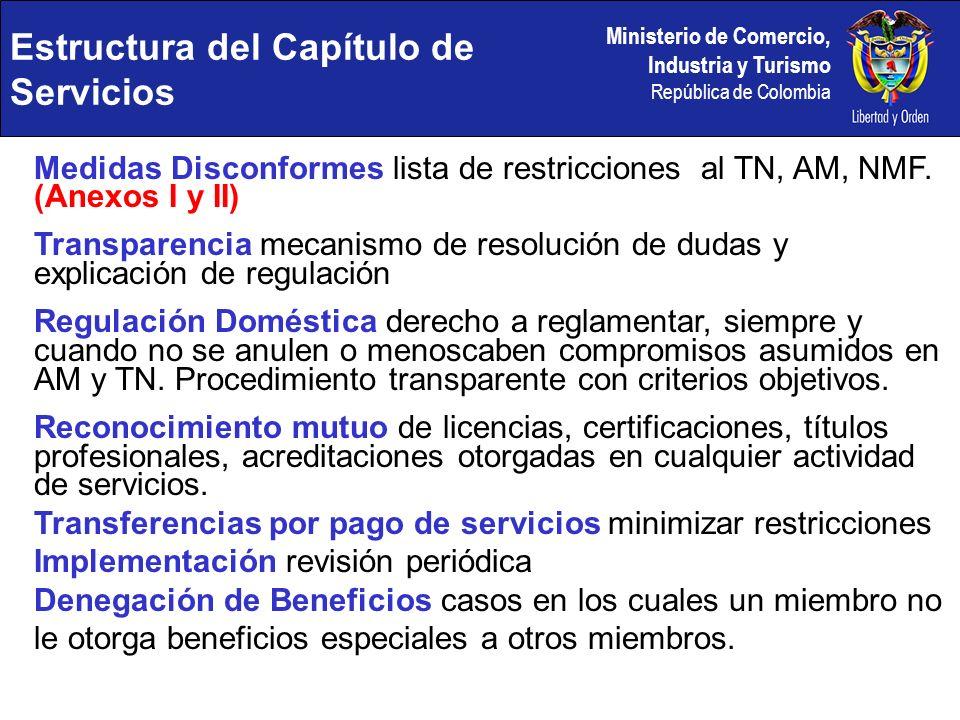 Ministerio de Comercio, Industria y Turismo República de Colombia Medidas Disconformes lista de restricciones al TN, AM, NMF. (Anexos I y II) Transpar