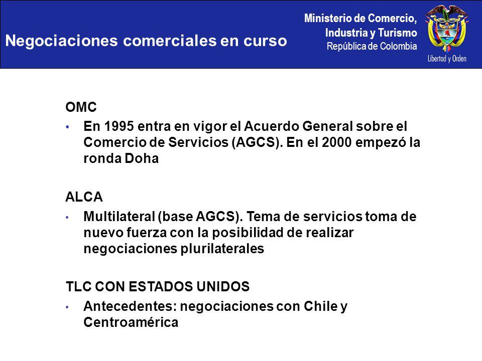 Ministerio de Comercio, Industria y Turismo República de Colombia OMC En 1995 entra en vigor el Acuerdo General sobre el Comercio de Servicios (AGCS).