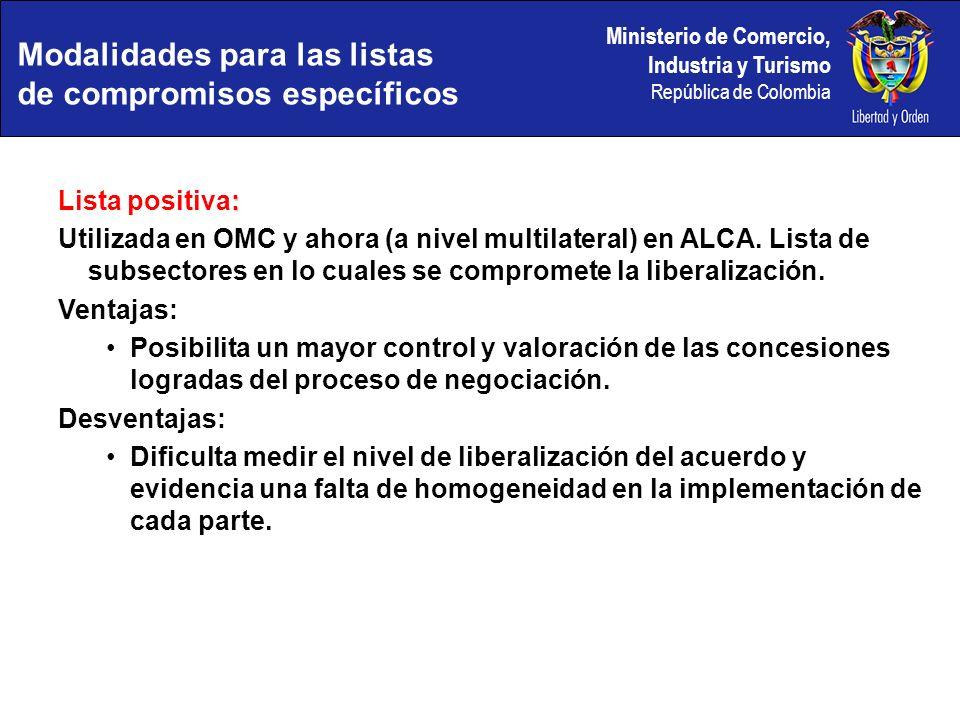 Ministerio de Comercio, Industria y Turismo República de Colombia Modalidades para las listas de compromisos específicos : Lista positiva: Utilizada en OMC y ahora (a nivel multilateral) en ALCA.