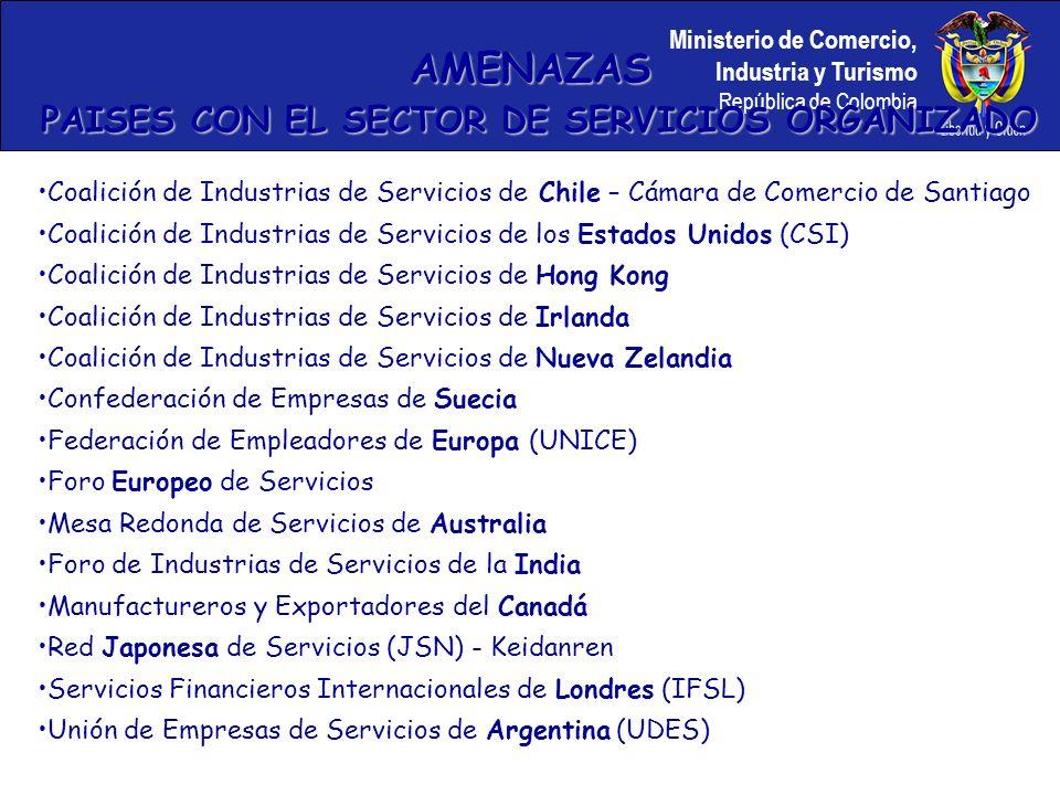 Ministerio de Comercio, Industria y Turismo República de Colombia Coalición de Industrias de Servicios de Chile – Cámara de Comercio de Santiago Coalición de Industrias de Servicios de los Estados Unidos (CSI) Coalición de Industrias de Servicios de Hong Kong Coalición de Industrias de Servicios de Irlanda Coalición de Industrias de Servicios de Nueva Zelandia Confederación de Empresas de Suecia Federación de Empleadores de Europa (UNICE) Foro Europeo de Servicios Mesa Redonda de Servicios de Australia Foro de Industrias de Servicios de la India Manufactureros y Exportadores del Canadá Red Japonesa de Servicios (JSN) - Keidanren Servicios Financieros Internacionales de Londres (IFSL) Unión de Empresas de Servicios de Argentina (UDES) AMENAZAS PAISES CON EL SECTOR DE SERVICIOS ORGANIZADO