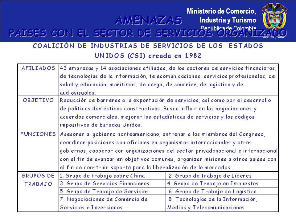 Ministerio de Comercio, Industria y Turismo República de Colombia AMENAZAS PAISES CON EL SECTOR DE SERVICIOS ORGANIZADO