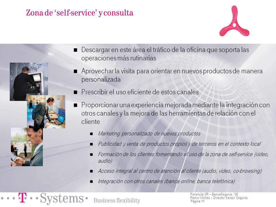 Página 11 Ponencia IIR – BancaSeguros 06 Pedro Vilches – Director Sector Seguros Descargar en este área el tráfico de la oficina que soporta las opera