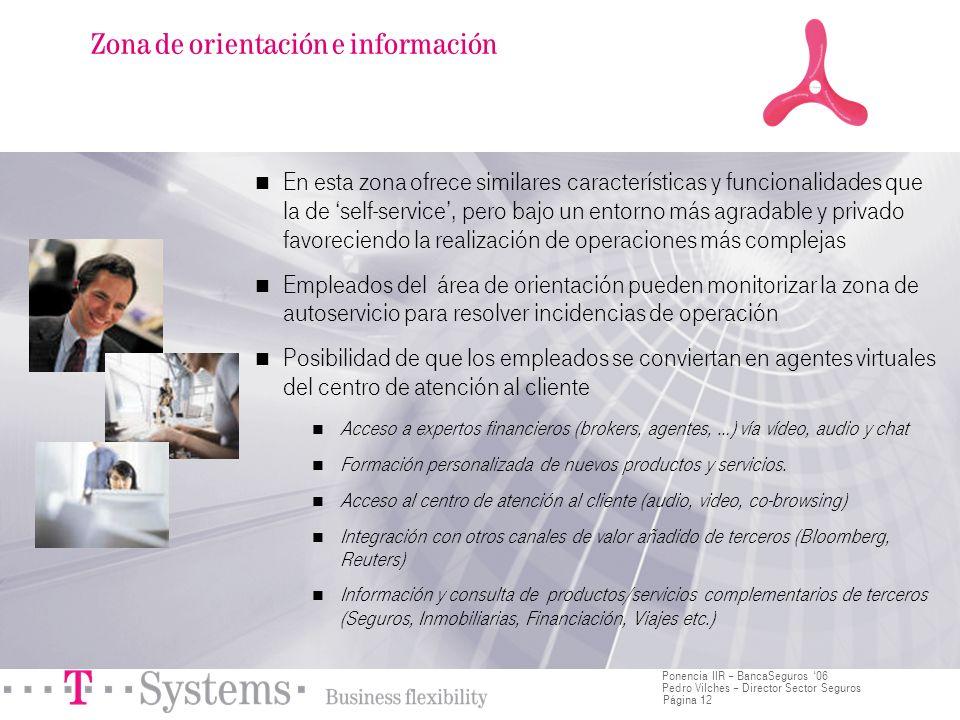 Página 12 Ponencia IIR – BancaSeguros 06 Pedro Vilches – Director Sector Seguros En esta zona ofrece similares características y funcionalidades que l