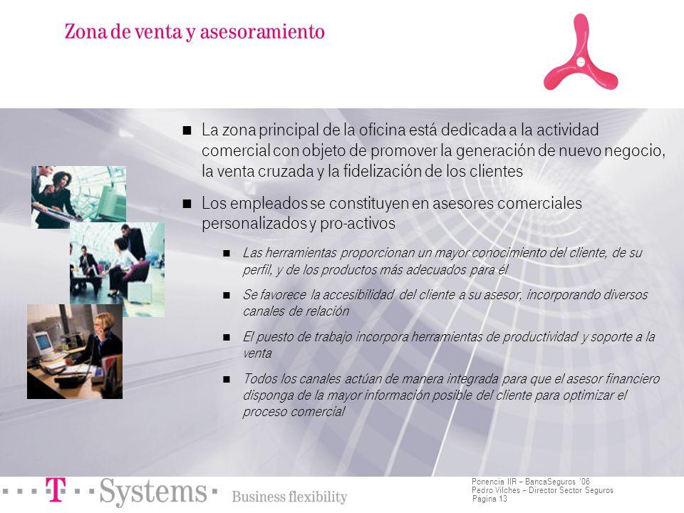 Página 13 Ponencia IIR – BancaSeguros 06 Pedro Vilches – Director Sector Seguros La zona principal de la oficina está dedicada a la actividad comercia