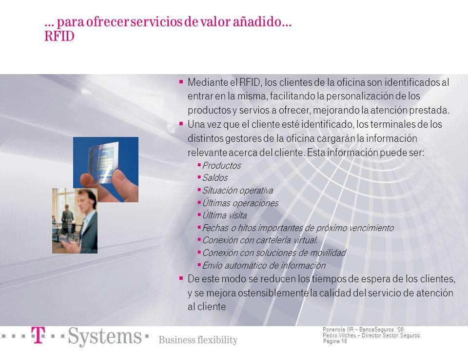 Página 18 Ponencia IIR – BancaSeguros 06 Pedro Vilches – Director Sector Seguros Mediante el RFID, los clientes de la oficina son identificados al ent