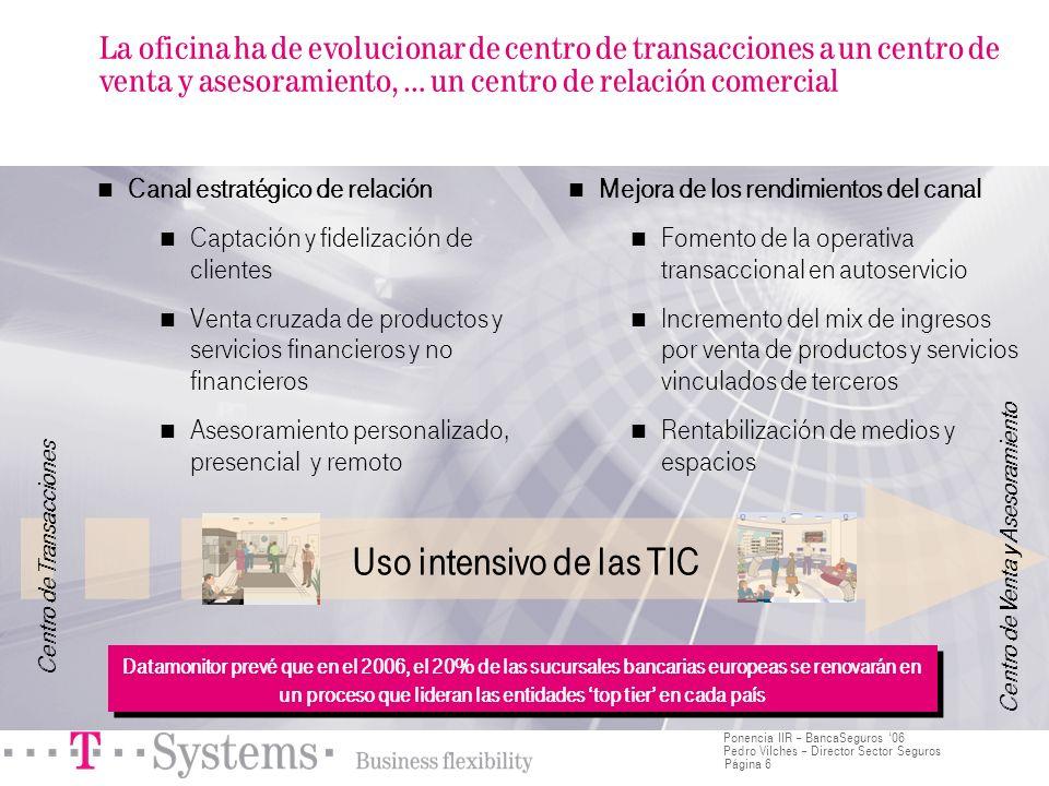 Página 6 Ponencia IIR – BancaSeguros 06 Pedro Vilches – Director Sector Seguros La oficina ha de evolucionar de centro de transacciones a un centro de
