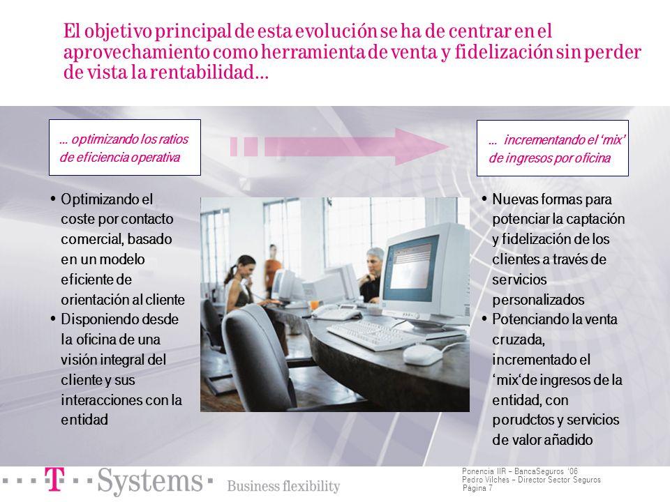 Página 7 Ponencia IIR – BancaSeguros 06 Pedro Vilches – Director Sector Seguros El objetivo principal de esta evolución se ha de centrar en el aprovec