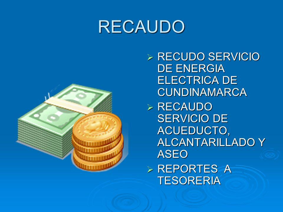 RECAUDO RECUDO SERVICIO DE ENERGIA ELECTRICA DE CUNDINAMARCA RECUDO SERVICIO DE ENERGIA ELECTRICA DE CUNDINAMARCA RECAUDO SERVICIO DE ACUEDUCTO, ALCAN