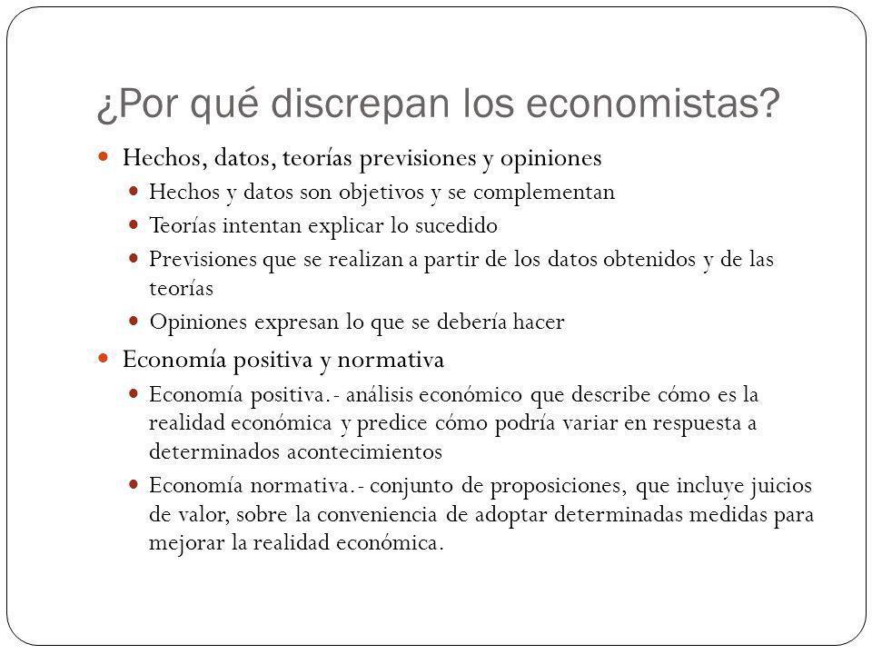 ¿Por qué discrepan los economistas? Hechos, datos, teorías previsiones y opiniones Hechos y datos son objetivos y se complementan Teorías intentan exp