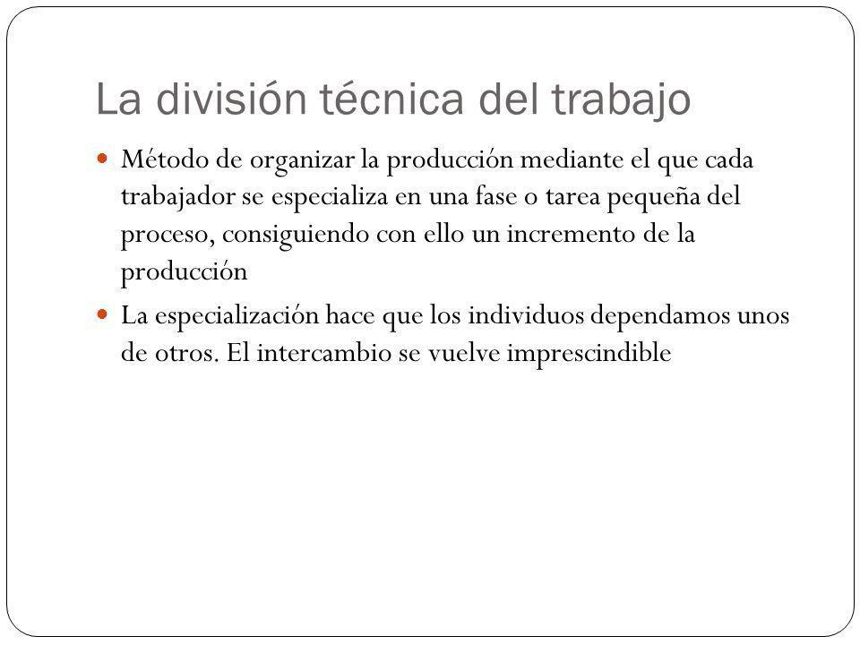 La división técnica del trabajo Método de organizar la producción mediante el que cada trabajador se especializa en una fase o tarea pequeña del proce