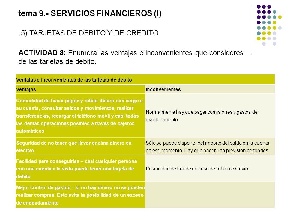 tema 9.- SERVICIOS FINANCIEROS (I) ACTIVIDAD 3: Enumera las ventajas e inconvenientes que consideres de las tarjetas de debito. Ventajas e Inconvenien