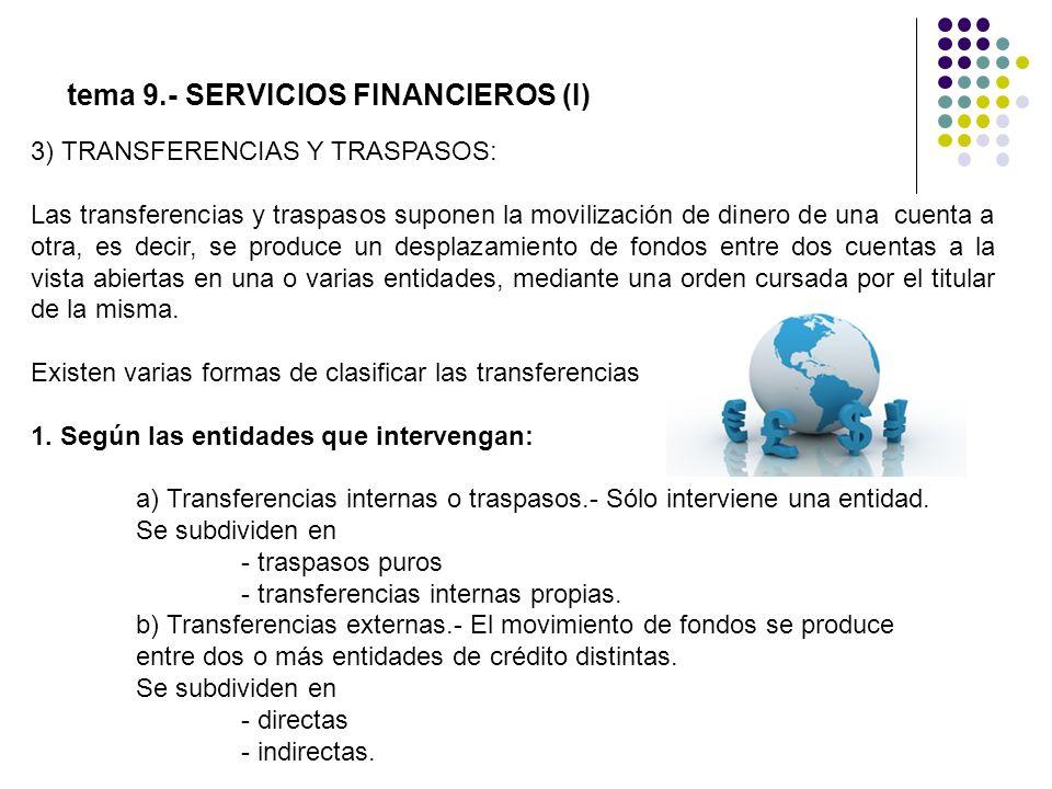 tema 9.- SERVICIOS FINANCIEROS (I) 3) TRANSFERENCIAS Y TRASPASOS: Las transferencias y traspasos suponen la movilización de dinero de una cuenta a otr