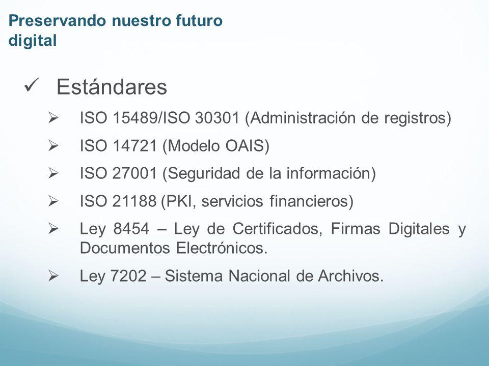 Estándares ISO 15489/ISO 30301 (Administración de registros) ISO 14721 (Modelo OAIS) ISO 27001 (Seguridad de la información) ISO 21188 (PKI, servicios financieros) Ley 8454 – Ley de Certificados, Firmas Digitales y Documentos Electrónicos.