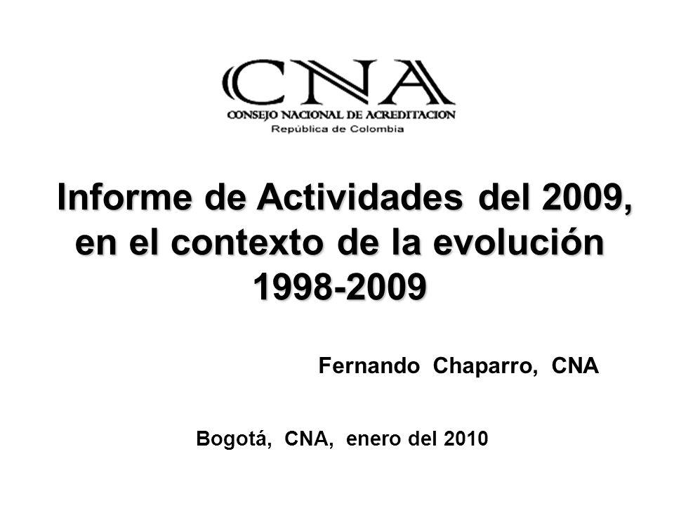 Informe de Actividades del 2009, en el contexto de la evolución 1998-2009 Informe de Actividades del 2009, en el contexto de la evolución 1998-2009 Fernando Chaparro, CNA Bogotá, CNA, enero del 2010